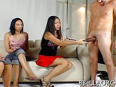 Petite redhead lets her girlfriends watch her fuck doggy style