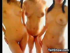 Three lesbians teasing their bodies