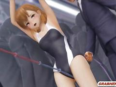 3d anime cutie shoved umbrella sticks in her ass and pussy