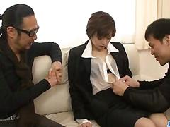 asian, blowjob, japanese, threesome, sucking