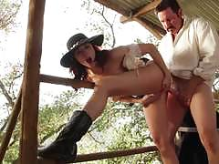 chanel preston, brunette, blowjob, riding, doggystyle, cumshot, facial, reverse cowgirl, boots, cowgirl, hairy, pussy licking, hat, sucking