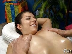 Her oiled up pussy gets a slippery dick in it