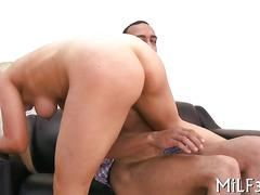 Big titty blonde has a fat one to gobble up