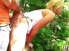 Little blonde gets her pussy fucked in the woods