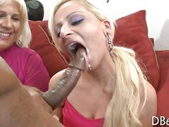 Party girls suck a black strippers dick with sweet whip cream