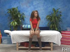 Curly teen goddess oiled up and boned in a massage parlor