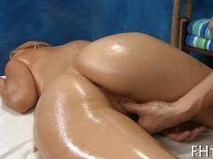 Horny blonde groped and oiled up into a pussy fucking massage