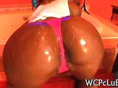 Big ass nubian beauty oiled up for teasing and fucking