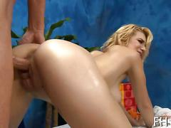 Blonde honey with a birthmark fucked on a massage table