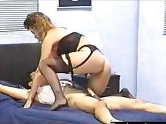Blonde slut  in lingerie starts off a ass spanking femdom party