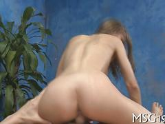 Sexy blonde fucks a stranger in her massage parlor