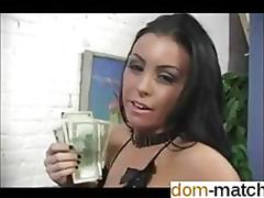Domina counts her cash and gives jerk off instructions