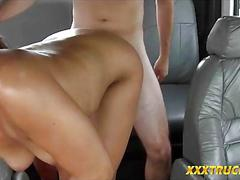 Tow truck driver gets his big boner blown in the backseat
