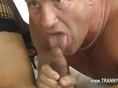 Tranny has a hot cock to present for a suck