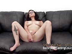 Backroom casting couch hot brunette glasses au...