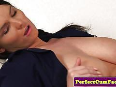 brunette, blowjob, cumshot, facial, cum, nurse, pov, sucking, masturbating