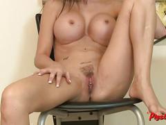 Jasmine jae gets naked and masturbates to a real orgasm