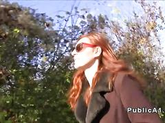 Redhead deep throats outdoors pov