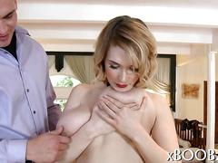 Blonde with huge tits jacks a dudes dick and fucks after stripping