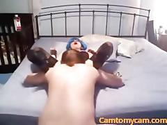 Blue haired slut sucking dick in her sexy corset on webcam