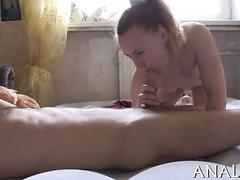Amateur babe sucks a russian cock off on the floor
