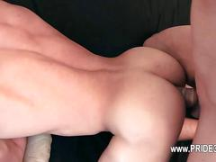 Cock deeply inserted in his tight analhole