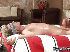 Blindfolded twink tied up and jacked off by a geezer