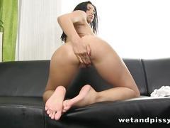 Slutty girl kira in a see-through pantyhose