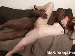 Rampant redhead takes on this huge cock