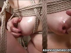 Asian babe teased and tied up