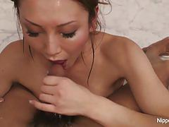 Japanese brunette swallows this hard dick