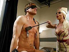 femdom, mistress, whipping, busty, blindfold, blonde milf, nipple clamps, riding crop, nurse uniform, divine bitches, kink, damien thorne, lorelei lee