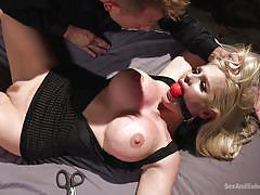 bdsm, big tits, vibrator, fingering, sex slave, submission, blonde milf, ball gag, electric wand, sex and submission, kink, bill bailey, alena croft