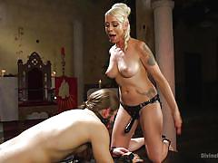 anal, femdom, bdsm, mistress, strap on, from behind, blonde milf, hair pulling, ball gag, divine bitches, kink, nathan explosion, lorelei lee