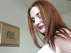 Frivolous redhead gives head to horny guy
