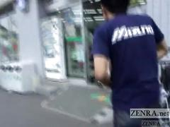 Crazy japanese public nudity walk of shame with subtitles