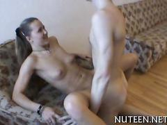 Skinny guy bangs a lusty little russian bitch doggy style