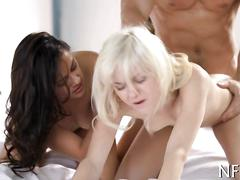 Pale blonde helps her hot friend fuck a stud