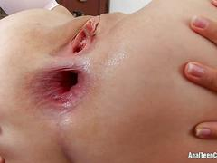 Cute girl gets anal sex on the table