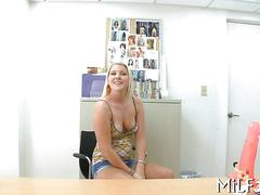 Little tits blonde strips her clothes and fucks for a casting