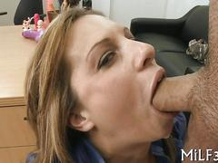 Slim hottie sucking dick and getting boned in an office