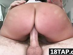 Hottie parker page blows a big boner and gets wrecked with a ride