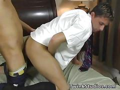 Two schoolboys rush home for a round of doggy style
