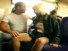 Amateur public sex on a train