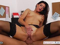 india summers, brunette, blowjob, riding, fuck, hardcore, doggystyle, suck, teacher, reverse cowgirl, stockings, small tits, pantyhose, sucking, india summer