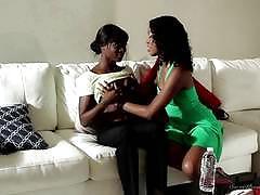 ana foxxx, lotus lain, tattoo, sofa, two girls, lesbian, heels, ebony, pussy licking