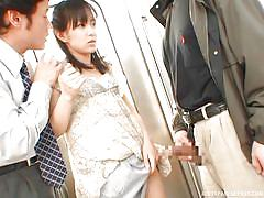 threesome, japanese, public, blowjob, fingering, censored, brunette babe, public transport, public sex japan, all japanese pass, nana nanaumi