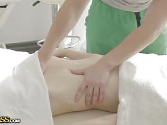 Nude blonde enjoys a hot massage