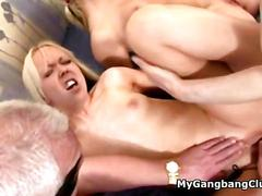 amateur, gangbang, group, party, old and young, blonde, fucking, old, sucking