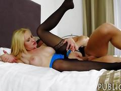 Beautiful amateur blonde chick flashes big tits and fucked